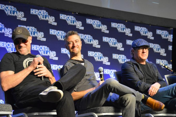 Michael Rooker (Yondu Udonta), Sean Gunn (Kraglin), Gregg Henry (Peter Quill's grandfather) of Guardians of the Galaxy.