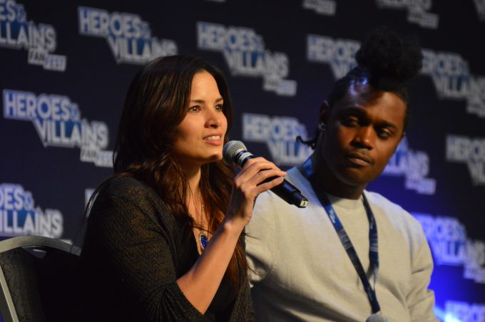 Echo Kellum (Curtis Holt) and Katrina Law (Nyssa al Ghul).