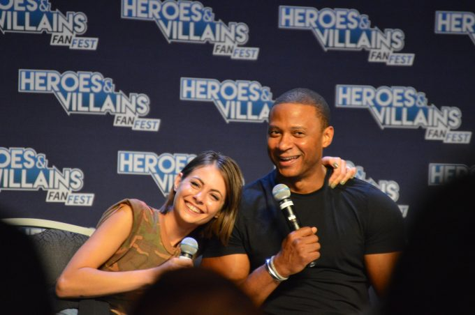 Willa Holland (Speedy) and David Ramsey (John Diggle).