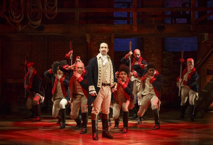 Lin-Manuel Miranda and the cast of Hamilton at The Public Theater. Photo courtesy of Joan Marcus.